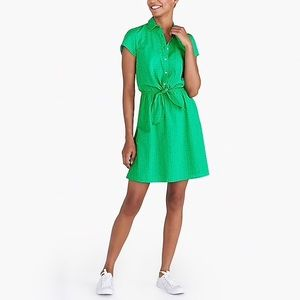 J crew Kelly Green Eyelet collared tie-front dress